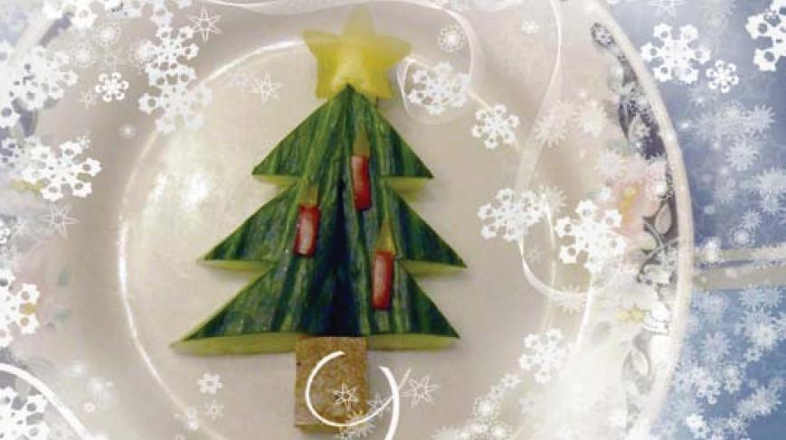 Weihnachtliches Menü, die Vorspeise: Essbarer Weihnachtsbaum